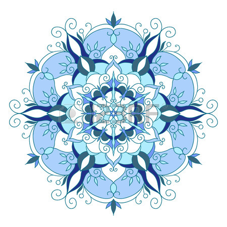 450x450 Vector Ornamental Mandala On Watercolor Background. Perfect Cards
