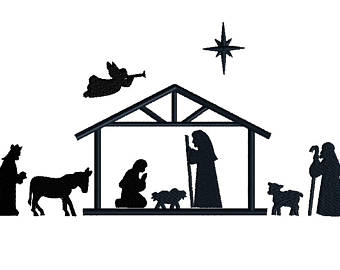 340x270 Christmas Nativity Silhouette Clip Art For Commercial Use