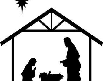 340x270 Nativity Black And White Black And White Clipart Nativity Scene