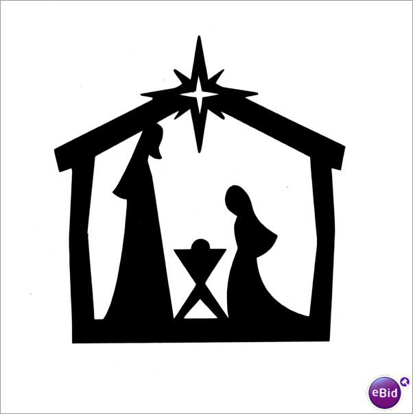 602x604 Christmas Crib Clipart