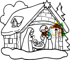 298x255 Nativity Clip Art Free Black White Clipart Panda