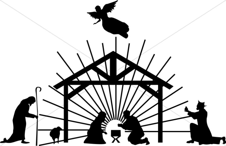 776x503 Nativity Scene Black Silhouette Nativity Clipart