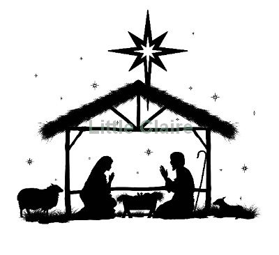 400x366 Nativity Scene Silhouette Clip Art