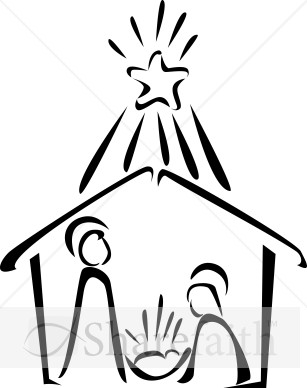 307x388 Black Amp White Clipart Nativity Scene