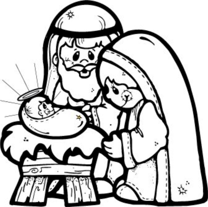 671x670 Free Nativity Clipart Black And White