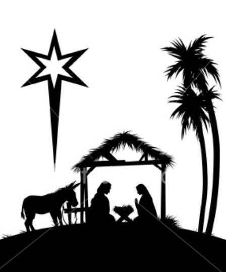 448x539 Manger Scene Silhouette Png 20 Picture Of Baby Jesus In