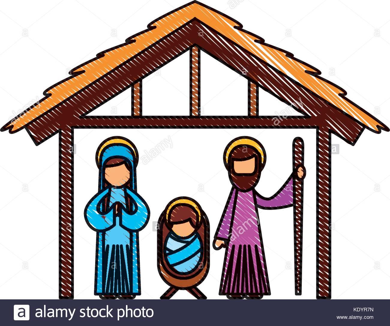 1300x1089 Traditional Family Christmas Manger Scene Baby Jesus Virgin Mary