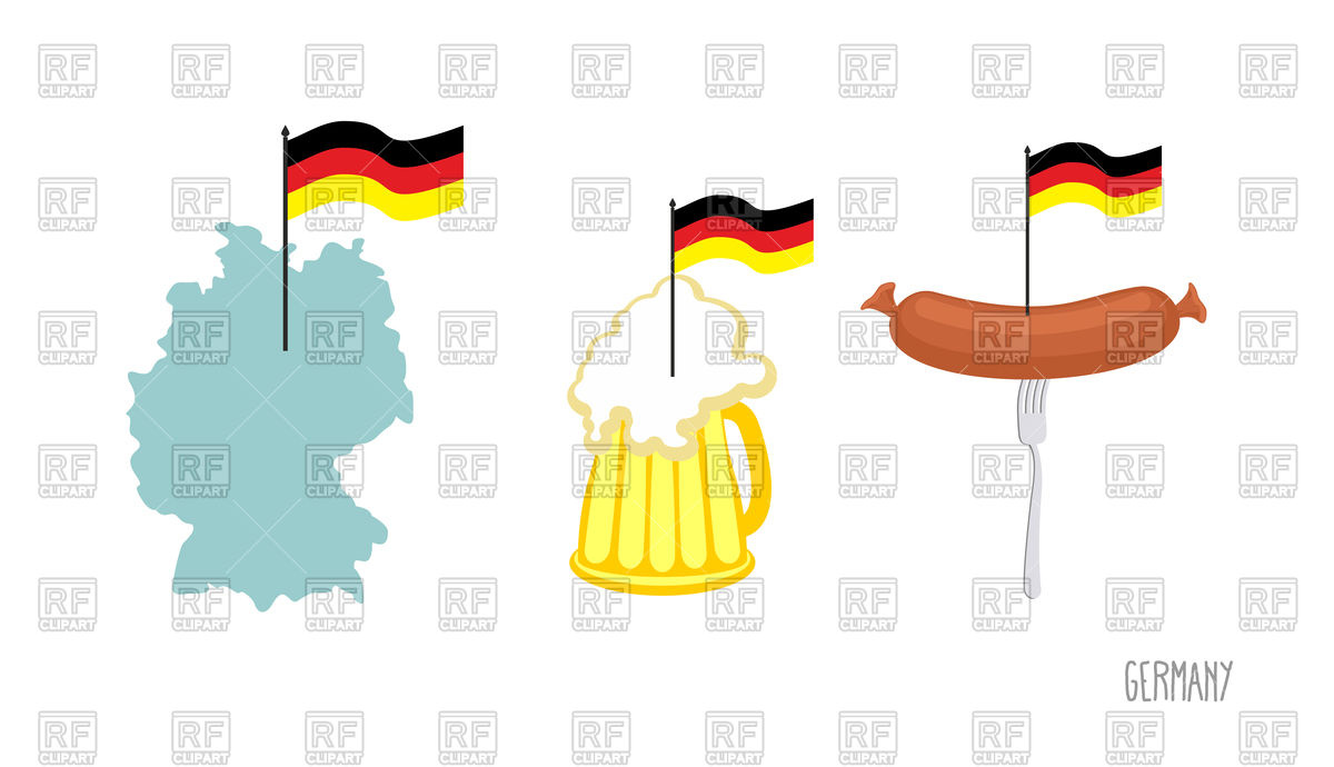 1200x690 Map and German flag with beer Royalty Free Vector Clip Art Image