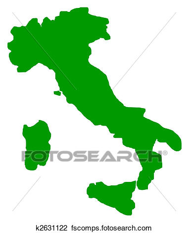 380x470 Clip Art of Italy map outline k2631122