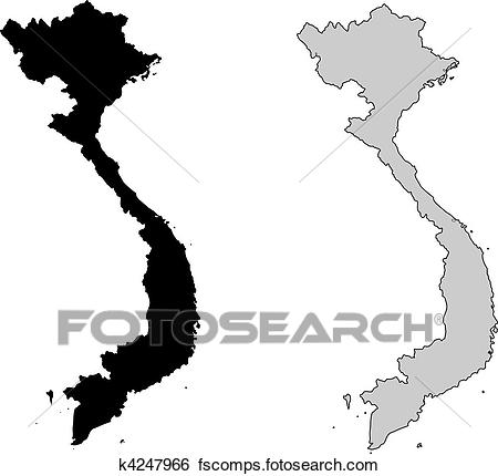 450x430 Clip Art Of Vietnam Map. Black And White. Mercator Projection