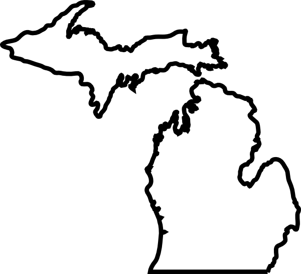 600x546 Michigan Map Outline Clip Art