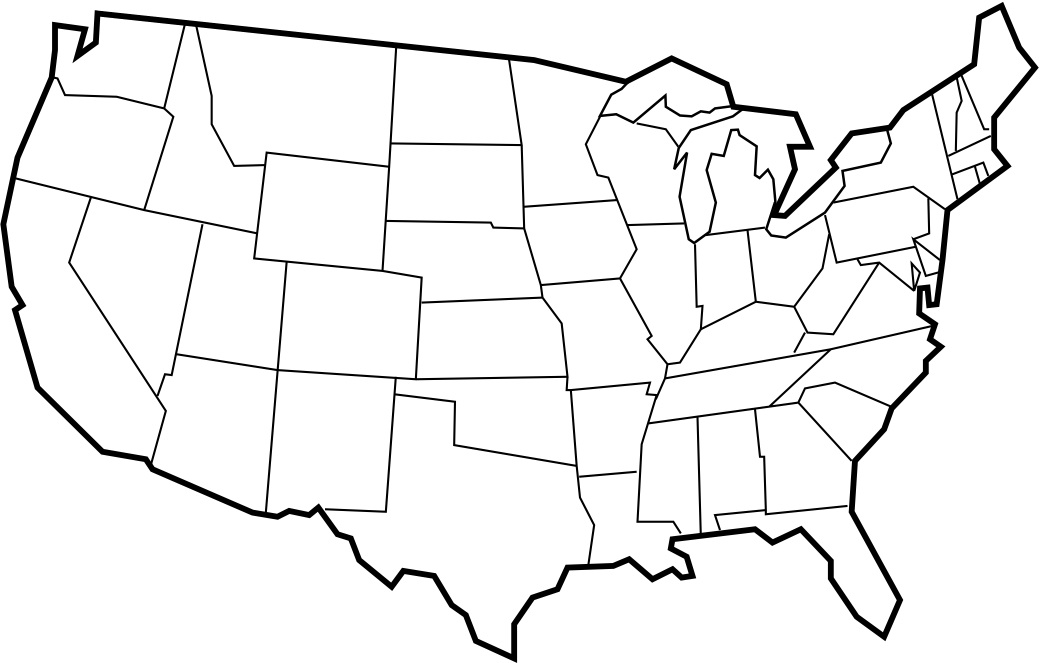 1040x663 Usa Map In Black And White United States Clip Art 42
