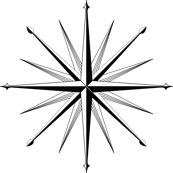 600x600 Compass Outline Wind Rose Compass Rose Clip Art Compass