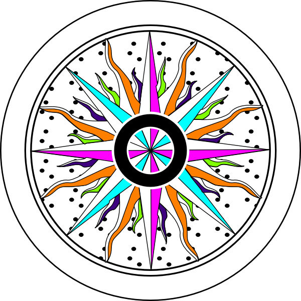 600x600 Colorful Compass Rose Clip Art
