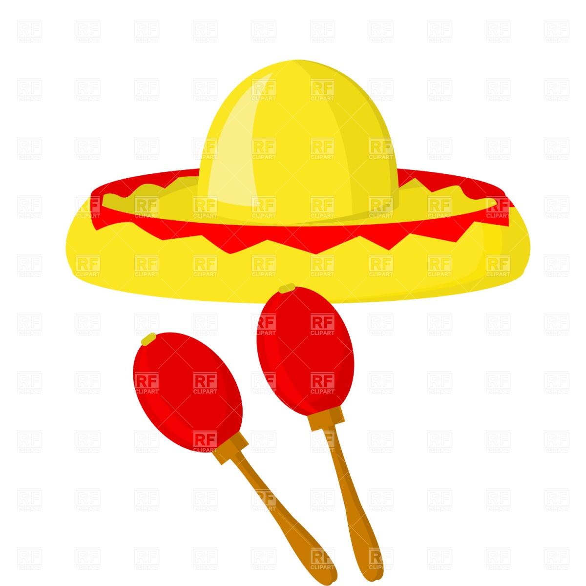 1200x1200 Mexican Maraca Sombrero Royalty Free Vector Clip Art Image