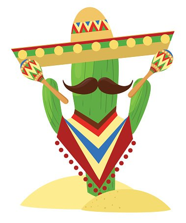 379x455 Mexico Set Cinco De Mayo Sombrero, Maracas And Jalapeno Premium