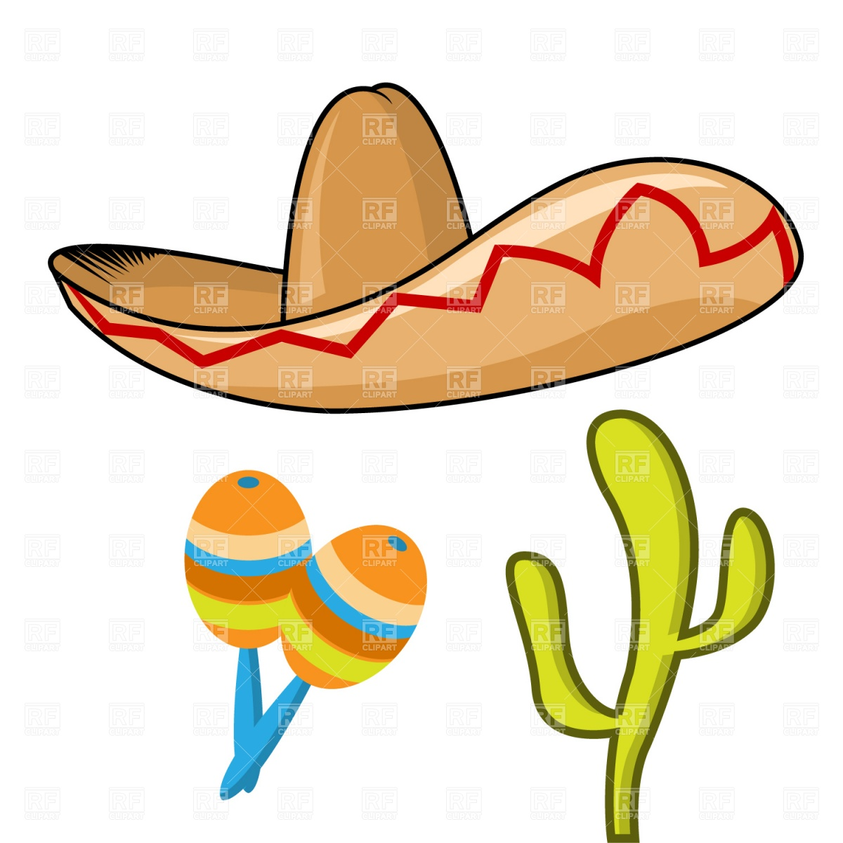 1200x1200 Sombrero, Maracas And Cactus Royalty Free Vector Clip Art Image
