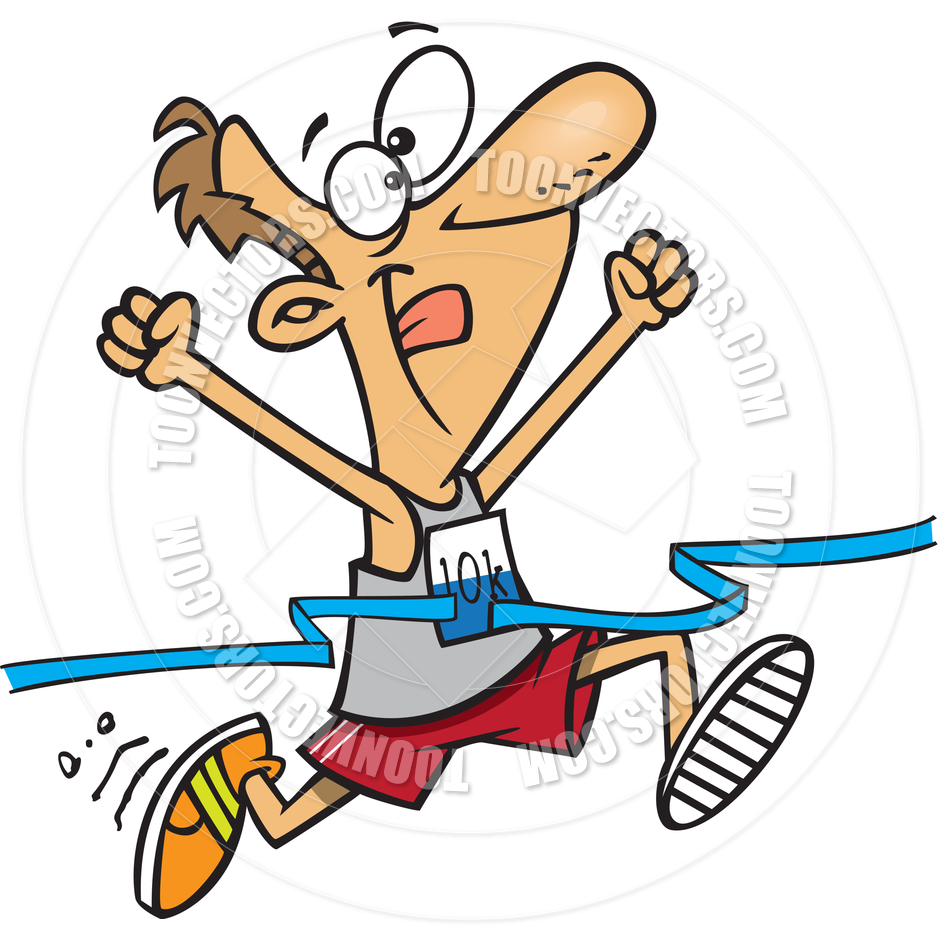 940x940 Cartoon Man Finishing Marathon By Ron Leishman Toon Vectors Eps