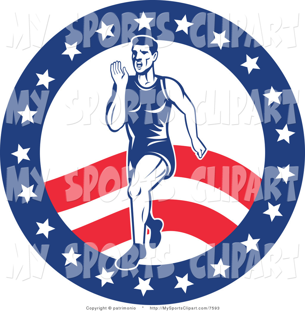1024x1044 Sports Clip Art Of A Marathon Runner Over An American Background
