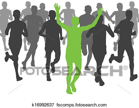 450x350 Clip Art Of Marathon Runners Vector Background K16992637