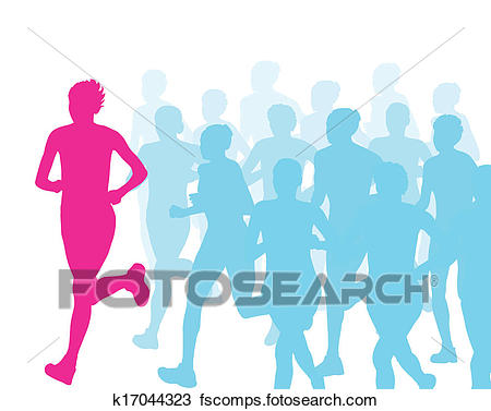 450x377 Clipart Of Women Marathon Winner Finish Vector Background
