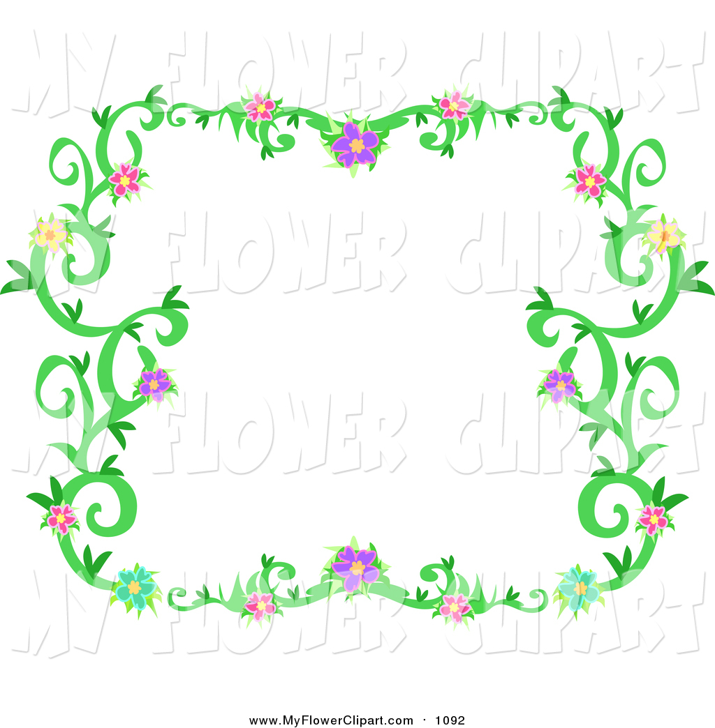 1024x1044 Clip Art Of A Flowering Vine Border Frame By Bpearth