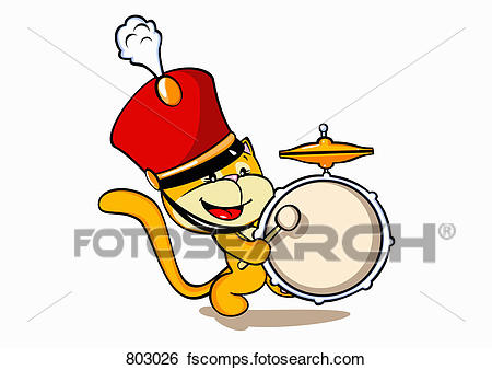 450x338 Clip Art Of A Cat Wearing A Marching Band Hat And Playing A Drum