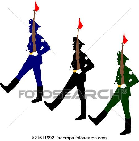 450x458 Clipart Of Silhouette Soldiers During A Military Parade. Vector
