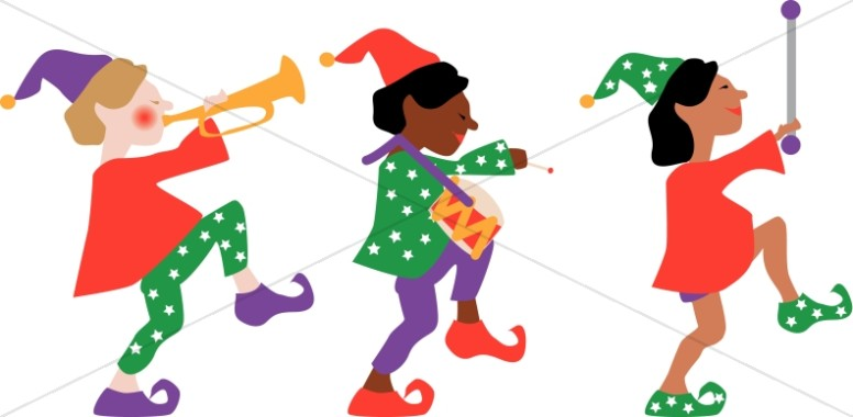 776x380 Three Elves Marching Traditional Christmas Decoration Clipart