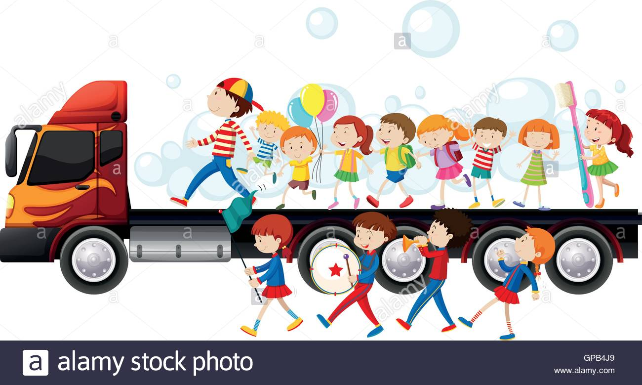1300x779 Band And Children In Parade Illustration Stock Vector Art