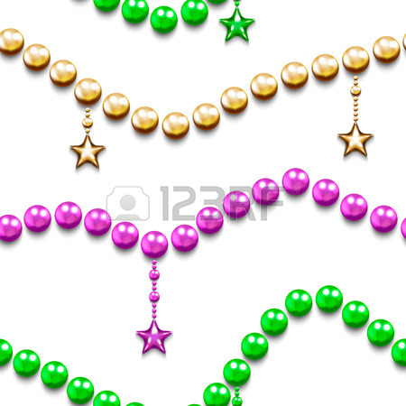 450x450 Mardi Gras Seamless Pattern With Color Beads And Stars. Mardi