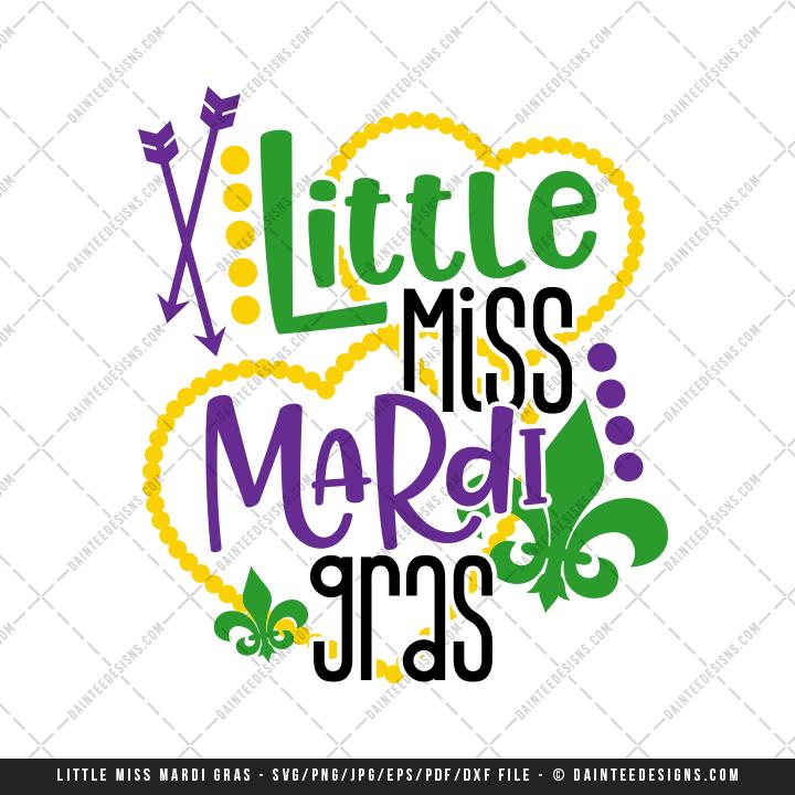 720x720 Little Miss Mardi Gras Svg, Dxf, Eps, Digital Cutting File