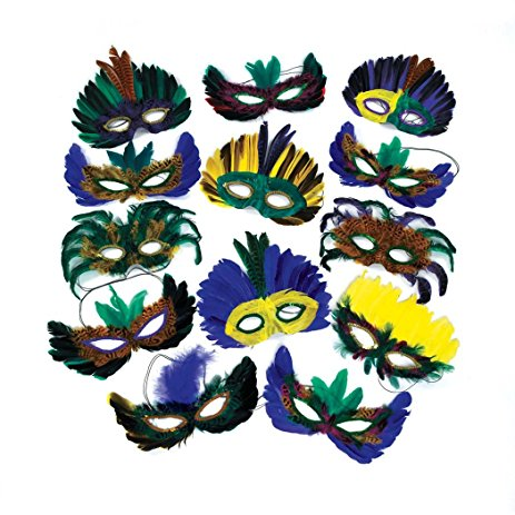 463x463 12 Feather Mardi Gras Masks Costume Party Masquerade