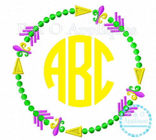 650x582 Arrow Mardi Gras Beads Monogram Frame Embroidery Design