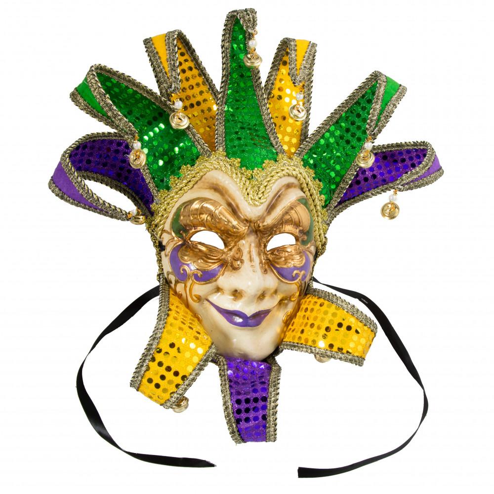 1000x1000 Deluxe Sequin Mardi Gras Jester Mask [24599]