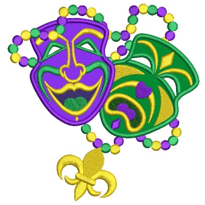700x700 Masks Mardi Gras Applique Machine Embroidery Digitized Design Pattern