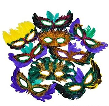 355x343 50 (Fifty) Pack Of Mardi Gras Masquerade Party Feather