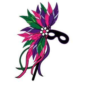 300x300 Mask Clipart Image Feathered Mardi Gras Mask Clipart Image