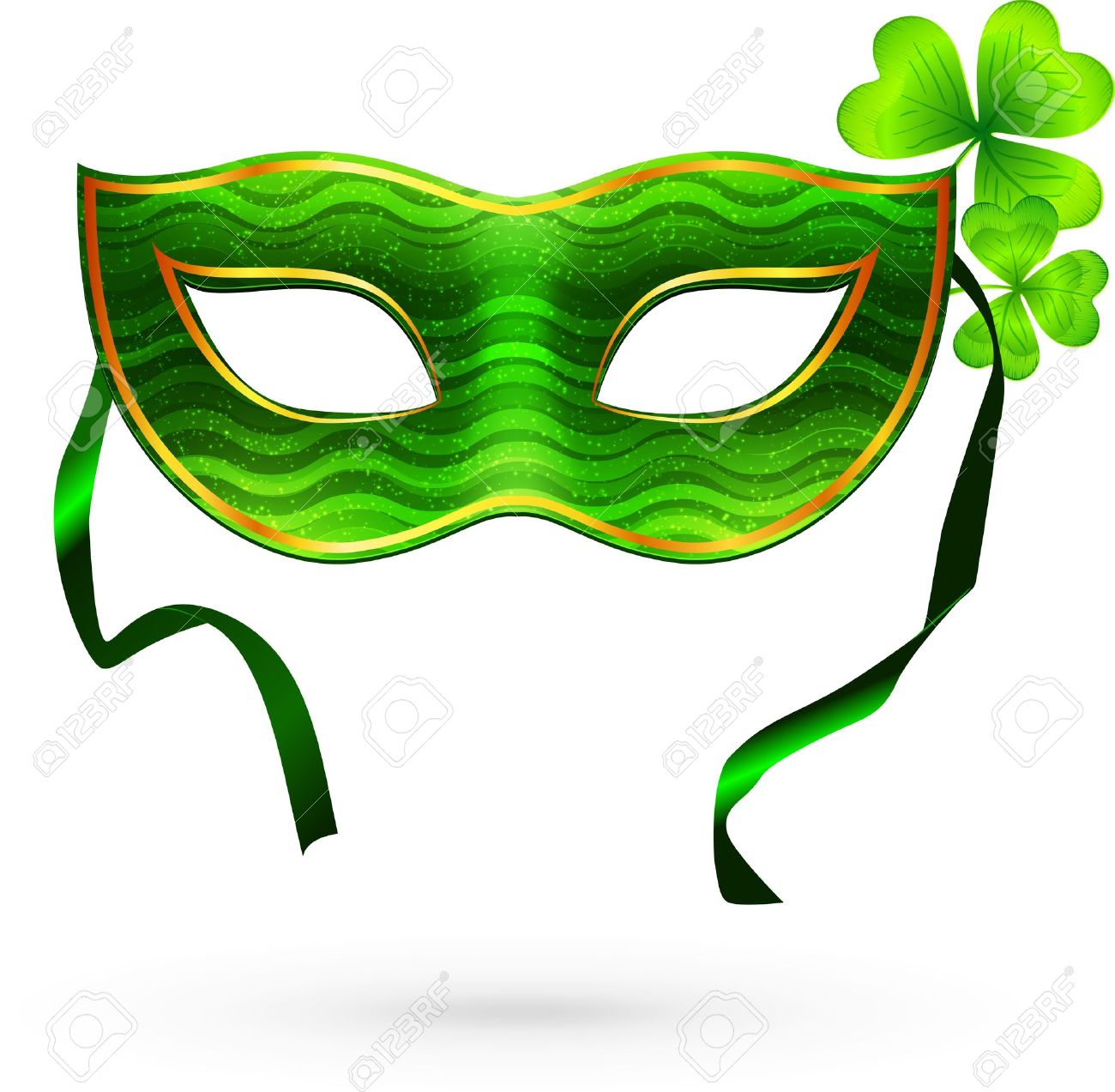 1300x1273 Green Carnival Mask With Clovers Royalty Free Cliparts, Vectors