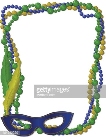 365x470 Mardi Gras Beads Frame With Mask Stock Vectors