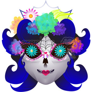 300x300 Royalty Free Day Of The Dead Female Skull Character Illustration