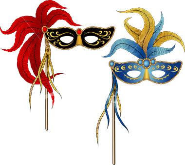 380x338 Vector Illustration Of Two Masqurade Ball, Mardi Gras Party Masks