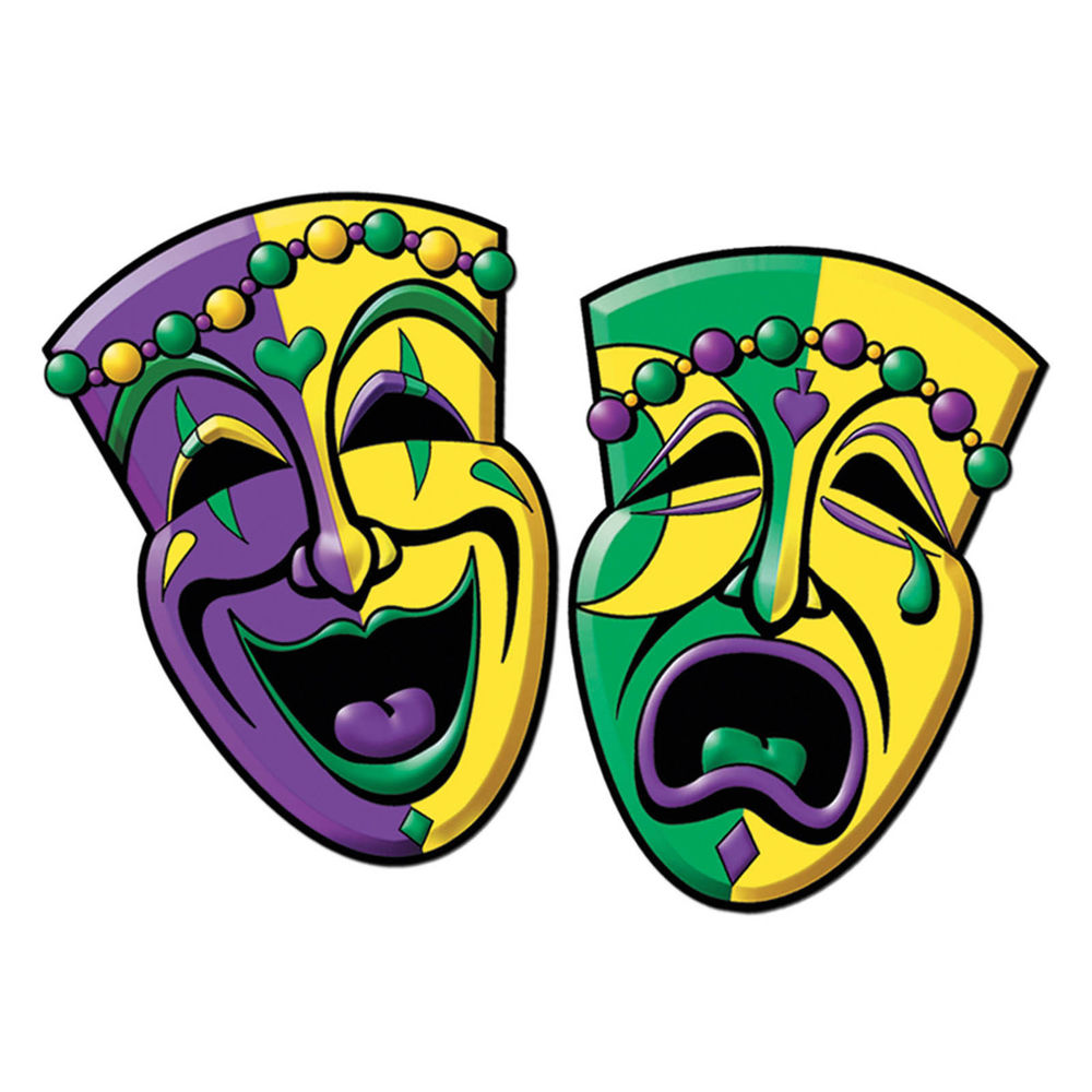 1000x1000 2 Mardi Gras Carnival Party Comedy Tragedy Mask Face Cutouts