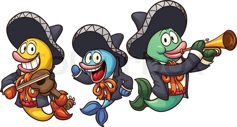 800x430 Cartoon Mariachi Fish. Vector Clip Art Illustration With Simple