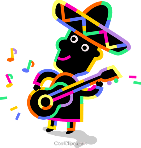 456x480 Mariachi Guitar Player Royalty Free Vector Clip Art Illustration