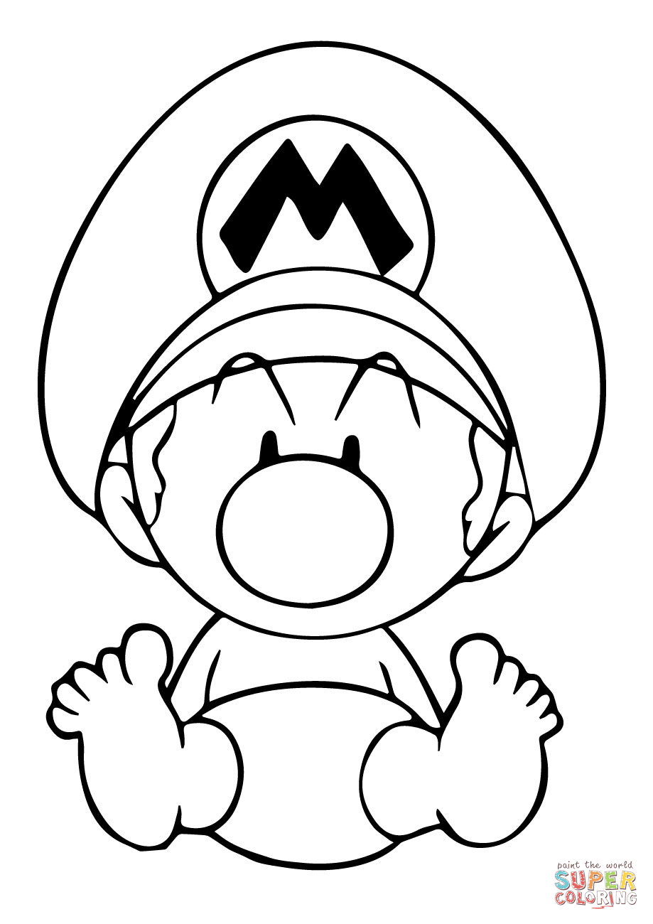 919x1300 Baby Mario Coloring Page Free Printable Pages
