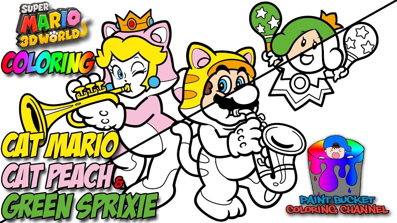 1280x720 How To Color Cat Mario, Cat Peach And Sprixie Princess