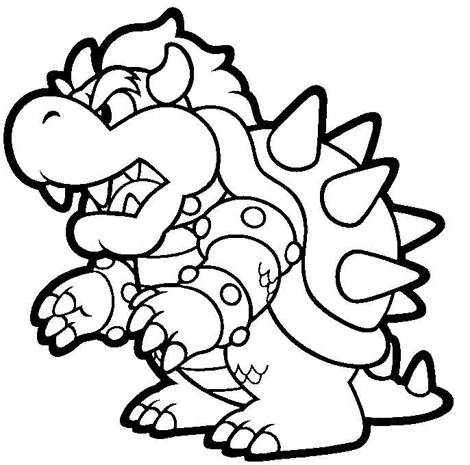 686x680 Mario Kart Bowser Coloring Pages