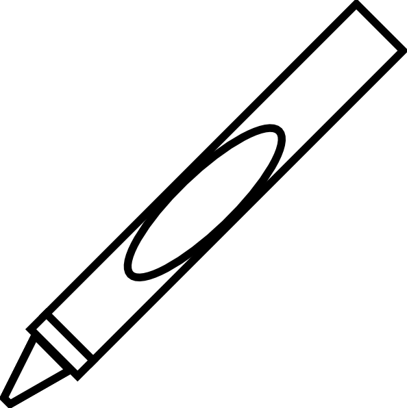 594x596 Crayon Clipart Black And White