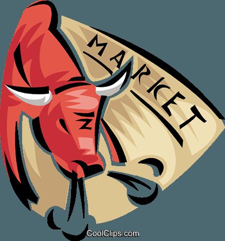 447x480 Bull Stock Market Royalty Free Vector Clip Art Illustration